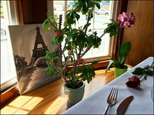 Our table at a French Cafe in Fountain Hill near our home.
